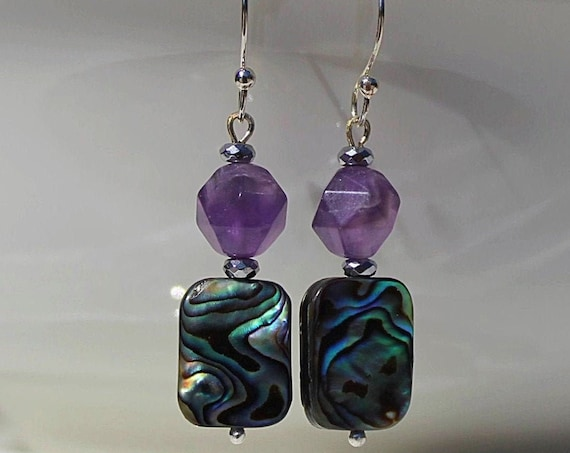 Amethyst and Abalone shell earrings