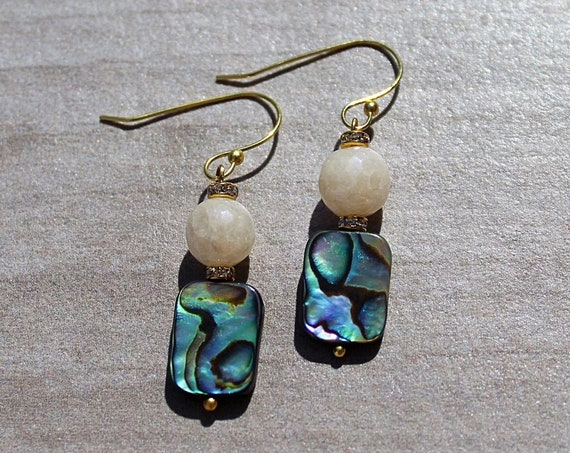 Quarts and Abalone Shell Earrings