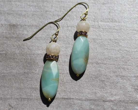 Amazonite and Quartz Earrings