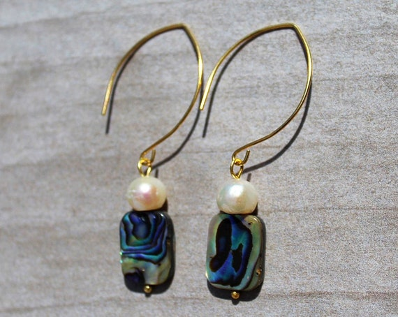 Fresh Water Pearls and Abalone Shell Earring