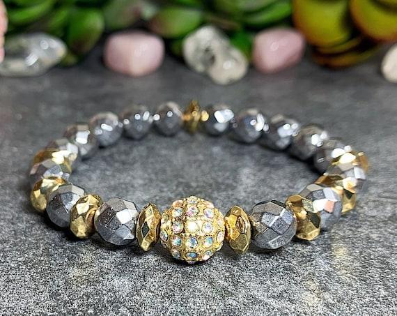 Hematite Crystal stretch bracelet