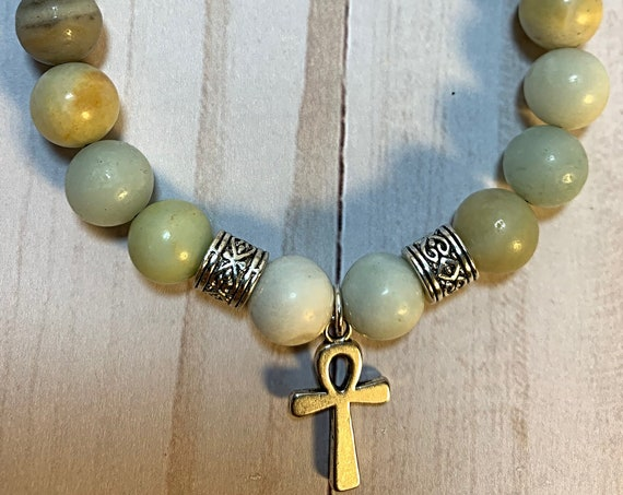 Amazonite with Ankh Mens Bracelet