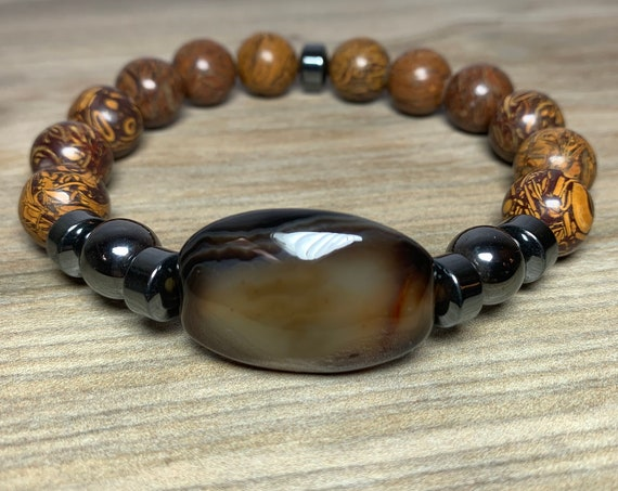 Wood Jasper stretch bracelet