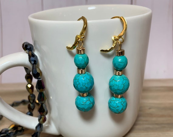 Turquoise gemstone drop earrings