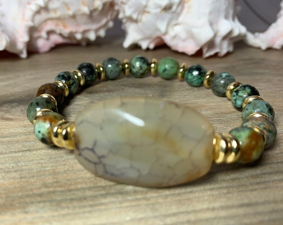 Agate and African Turquoise stretch bracelet