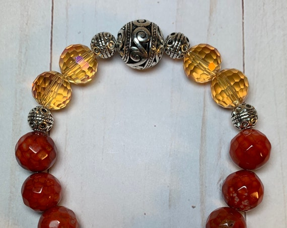 Red Agate and Silver Stretch Bracelets