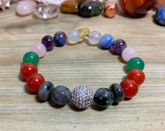Healing crystal chakra bracelet