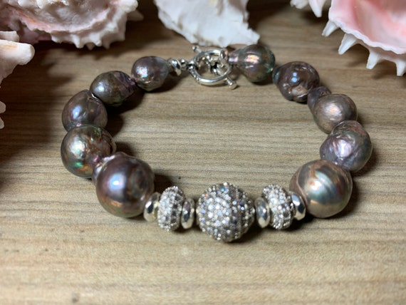 Freshwater baroque pearl statement bracelet
