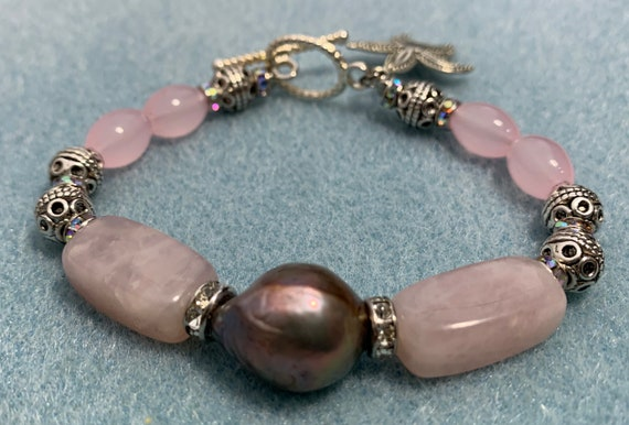 Baroque Pearl and rose quartz handcrafted bracelet