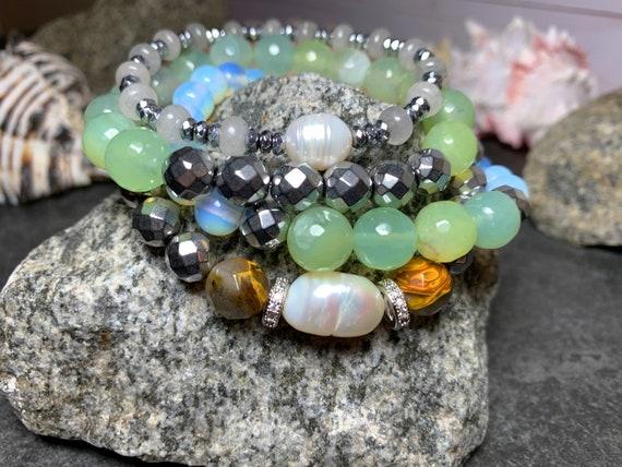Ocean of pearl Semiprecious Stack bracelets