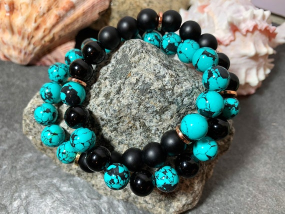 Howlite Black Onyx stretch stack