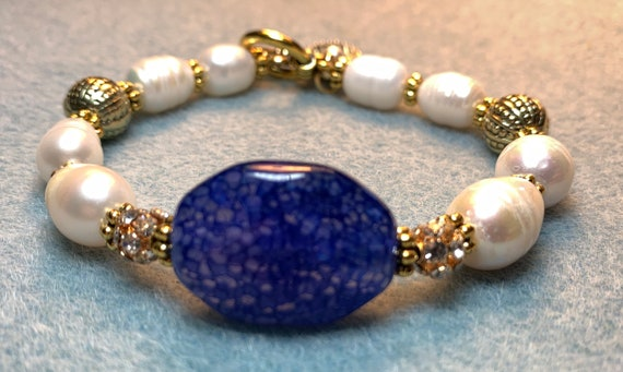 Purple Agate and Pearls Bracelet