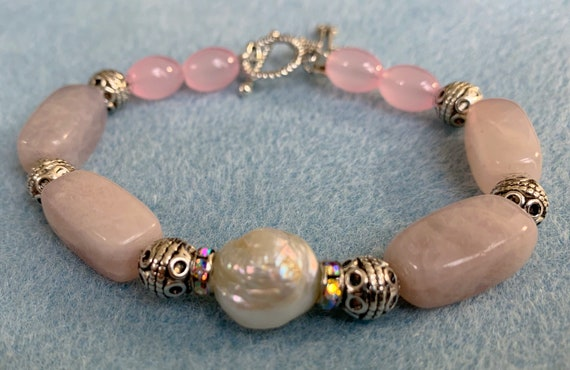 White baroque pearl and rose quartz spiritual bracelet