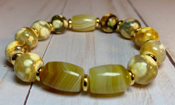 Yellow speckled Agate Stretch Bracelet