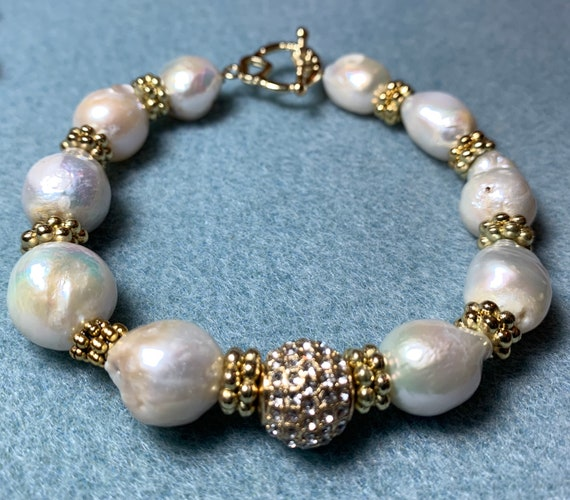 Baroque Pearl Bracelet and Earring Set