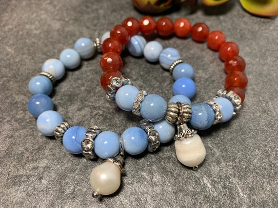 Agate and Carnelian boho stretch stack