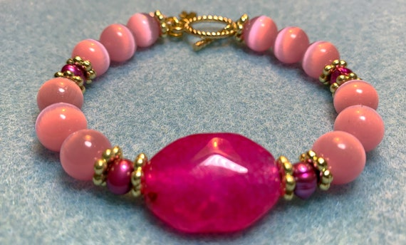 Princess pink tiger eye bracelet