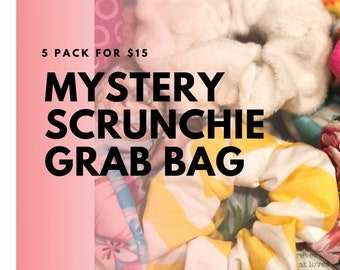 Mystery Scrunchies Grab Bag | Scrunchies Set | Surprise Bundle | Gift for Girls | 5 Pack of Scrunchies