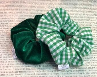 Green Gingham Scrunchie Set
