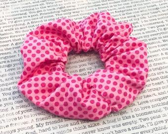 Bubble Gum Dot Cotton Scrunchie