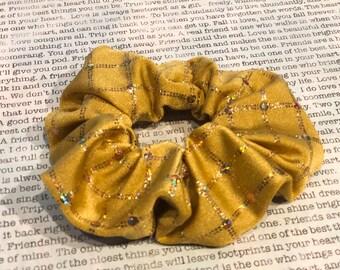 Gold Sparkle Squares Lycra Scrunchie