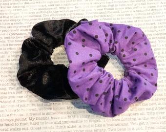 Black/Purple Polka Dot Scrunchie Set
