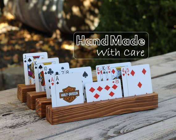 4 New Hand Made in USA Select Pine Wooden Playing Card Holders Set of Four
