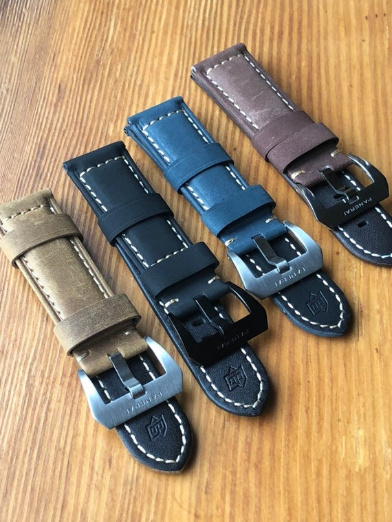 Panerai 24mm Genuine Plain Leather Watch Strap Wit