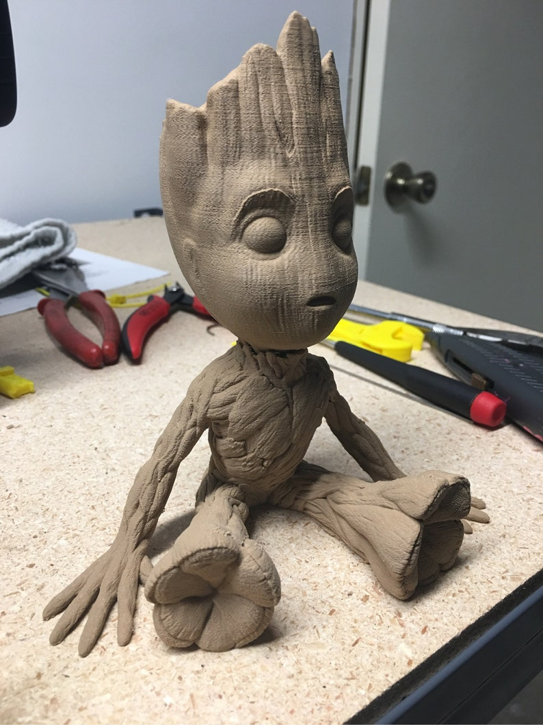 Marvel Guardians Of The Galaxy Wooden Baby Groot Highly Detailed Figurine