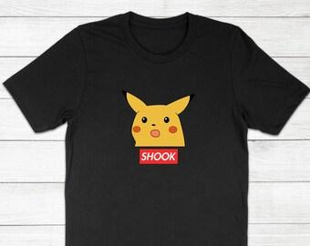 09ddd413 Surprised Pikachu Shook Shocked Box Logo Funny Dank Pokemon Meme Internet Tee  Shirt - Crewneck Short Sleeve Adults Kids Unisex T-Shirt