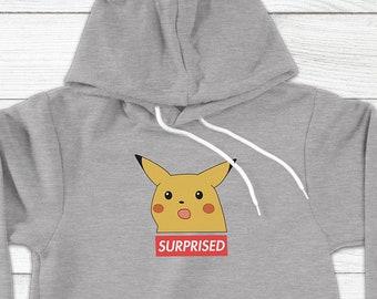 25c17450e Surprised Pikachu Box Logo Parody Funny Dank Pokemon Internet Meme Silly -  Adults Unisex Pullover Hoodie Hooded Sweater