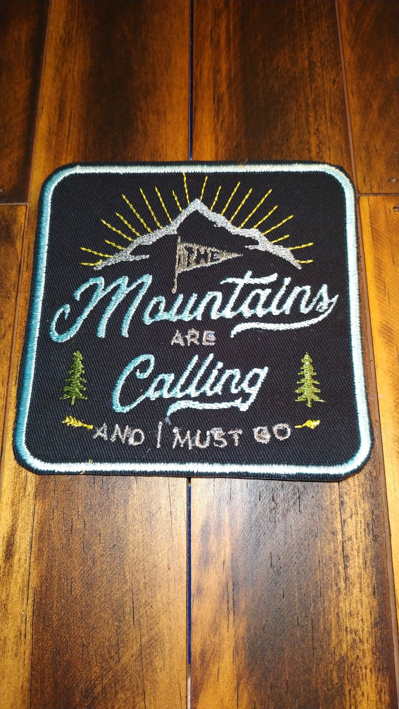 Patch Iron-On or Sew-On Camping Logo Mountains Is Calling Glow In The Dark
