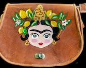 Hand painted genuine leather hand-bag - Frida Kahlo.