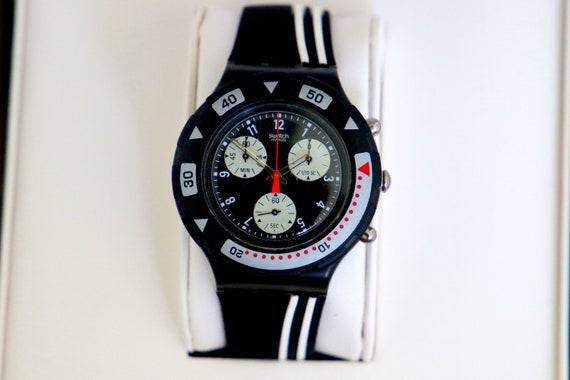 RARE 1990s Swatch Scuba  200 Aqua Chronograph 43mm