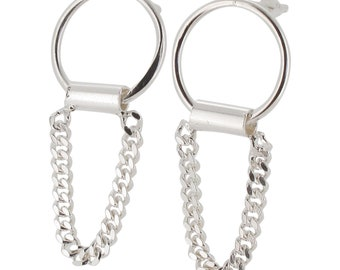Sterling Silver Circle and Chain Link Earrings 925