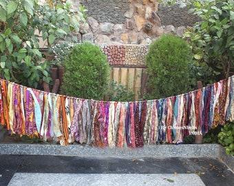 rag garland gypsy decor bohemian garland vibrant decor boho decoration tattered garland frayed bedroom garland patterned garland 3 feet ft