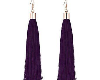 Deep Purple Plain Long Tassel Earrings Gold Metal Cap and Hook