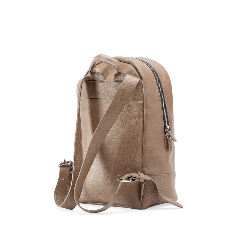 Beige Leather Backpack  Genuine Leather Backpack  Solid Office Backpack  Midi Woman Backpack Leather  Lined City Leather Backpack
