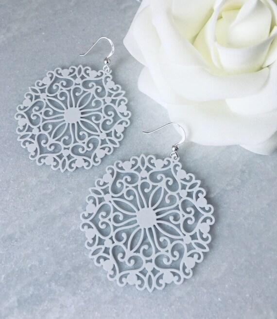 925 Sterling Silver Filigree Dangle Floral Earrings