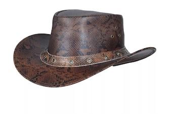 3c3501777b99c Genuine leather Western Australian Outback Cowboy Bush Hat with Chin Strap