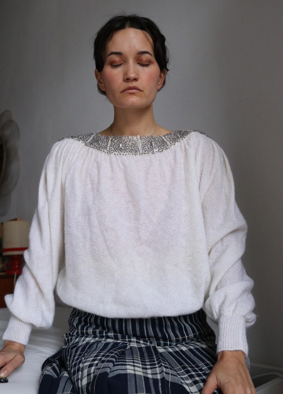 True Vintage White Real Mohair Puff Sleeve Beaded… - image 7