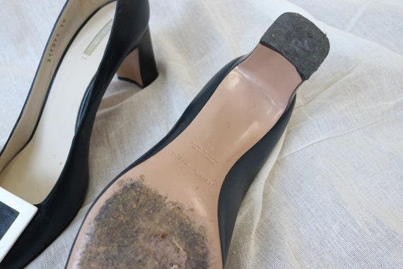 Amarni Navy Heeled Court shoes block heel and squ… - image 7