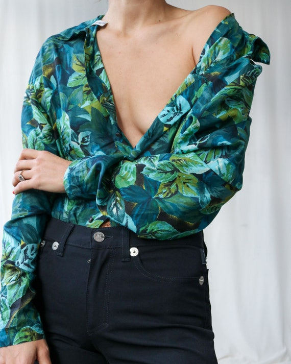 True Vintage 100% Silk Blouse Jungle Print Blouse