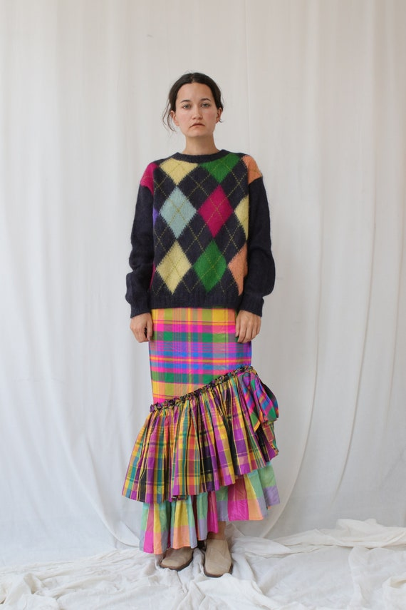 Hand Knitted Mohair Argyle Jumper Vintage S-M