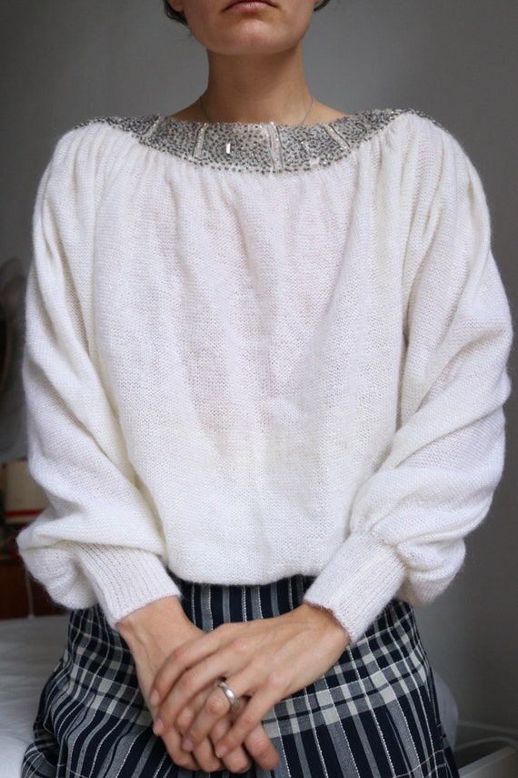 True Vintage White Real Mohair Puff Sleeve Beaded… - image 4