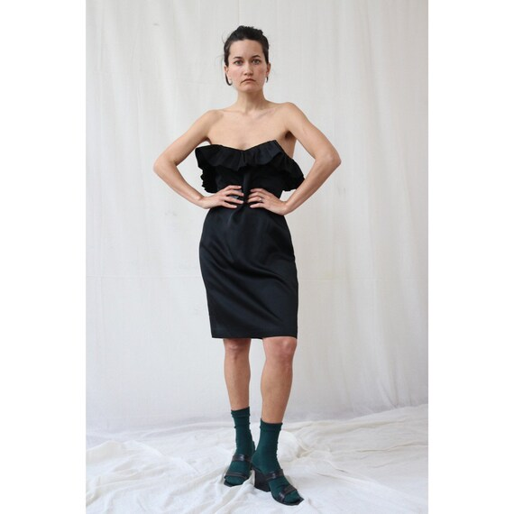 True vintage italian black ruffle dress