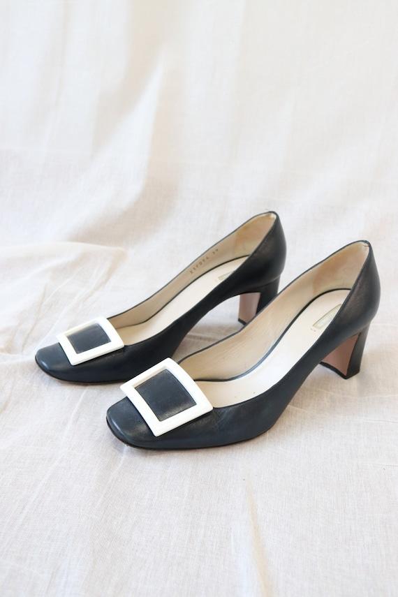 Amarni Navy Heeled Court shoes block heel and squ… - image 4