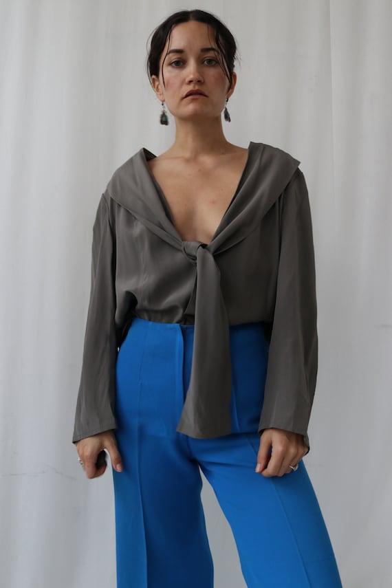 True Vintage 100% Silk Slate Grey Wrap Blouse M-L