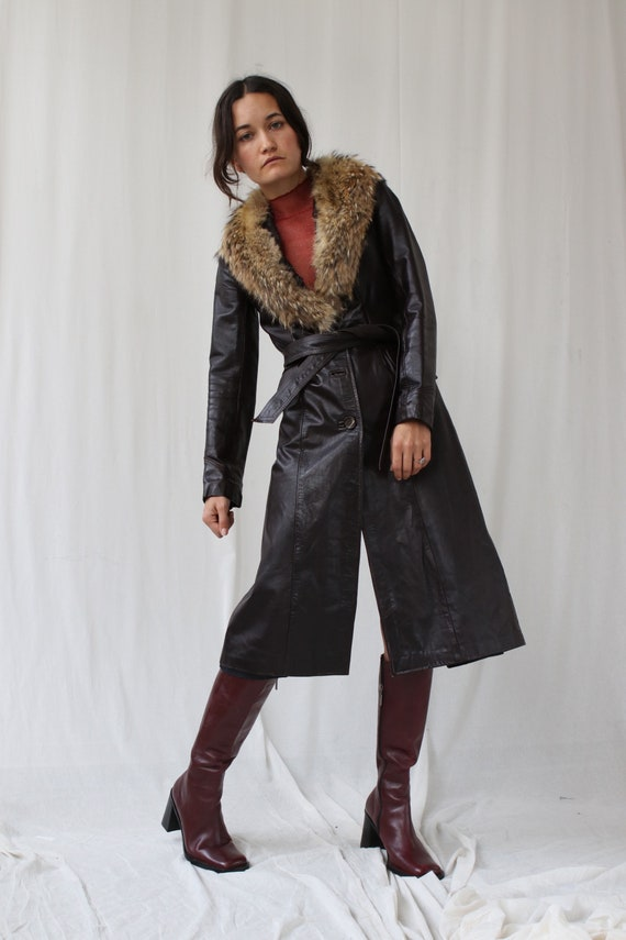 Black Leather and Real Fur Penny Lane Afghan Coat