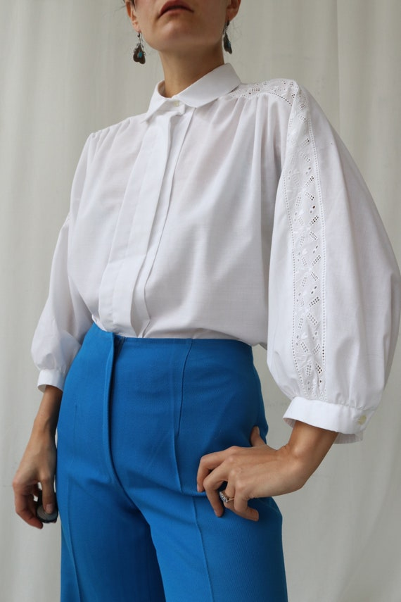 White Puff Sleeve Vintage Blouse Template
